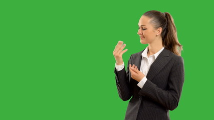 Young beautiful business woman showing copy space