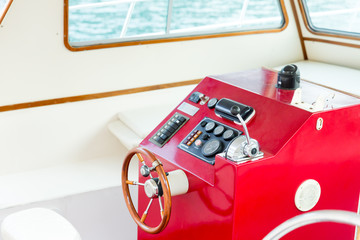 The helm of a luxury yacht
