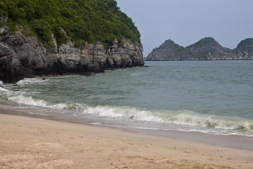 Cliffs at a beach at Cat Ba island, Vietnam