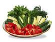 Sliced vegetables on  plate
