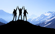 Climbers team on peak. Sport and active  life concept