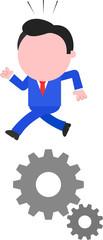 Businessman Running on Gears