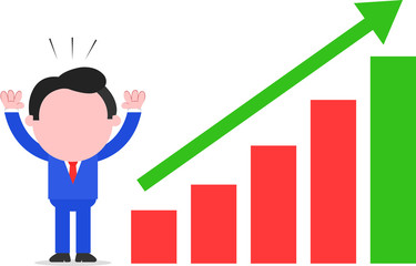 Businessman With Chart Going Up