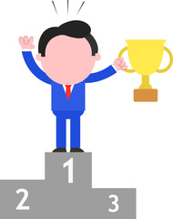 Businessman Holding Cup on Podium as Champion