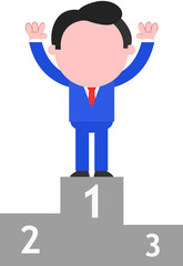 Businessman Standing on Podium as Champion