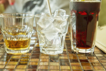 Whiskey, ice and Cola