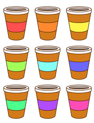 A set of cardboard coffee cups wit colored packing