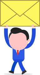 Walking Businessman Raising Mail Envelope