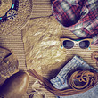 Accessories cowboy retro style on wooden background