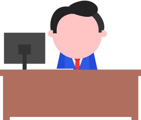 Businessman Sitting Behind Desk
