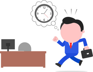 Late Businessman Rushing to Desk
