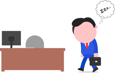 Businessman Sleepwalking to Desk