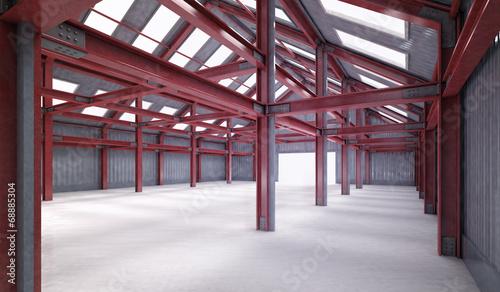 red steel framework building indoor perspective view - 68885304