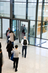 People Leaving an Office Building, Motion Blur