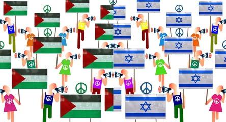 Manifs de pacifistes palestiniens et israëliens