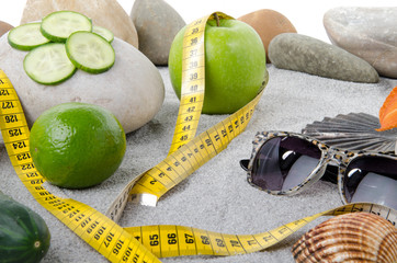 Concept of healthy nutrition, weight loss and beach