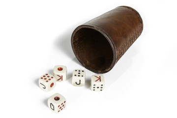 Old Beaker With Dices