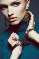 Ethnic accessories concept. Portrait of beautiful young woman