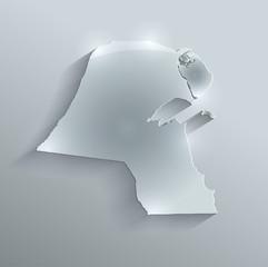 Kuwait map flag glass card paper 3D vector