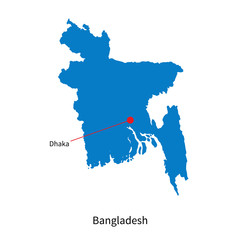 Detailed vector map of Bangladesh and capital city Dhaka