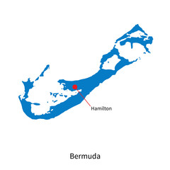Detailed vector map of Bermuda and capital city Hamilton