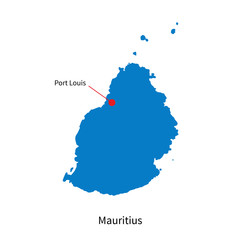 Detailed vector map of Mauritius and capital city Port Louis