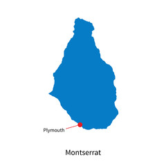 Detailed vector map of Montserrat and capital city Plymouth