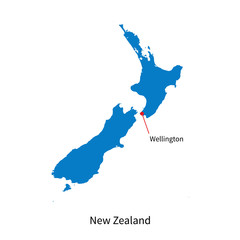 Detailed vector map of New Zealand and capital city Wellington