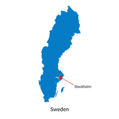 Detailed vector map of Sweden and capital city Stockholm