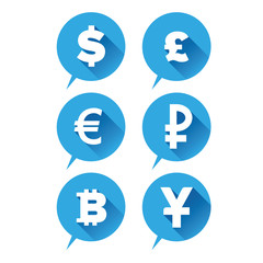 Money icon - Currencies sign blue