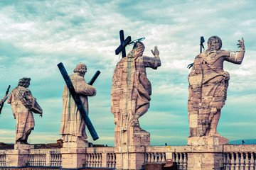 Statues on the roof of the Cathedral of St. Peter in Rome