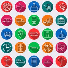 Logistics flat vector icons