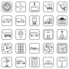 Logistics black contour vector icons
