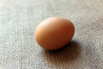 an egg of hen on the sacking