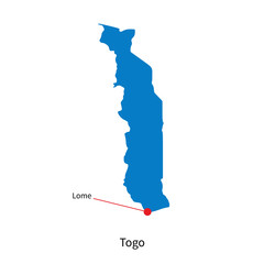 Detailed vector map of Togo and capital city Lome