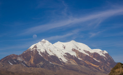 Illimani Mountain and Full Moon