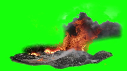 fire and smoke and explosions with green screen