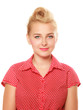 canvas print picture - Pin-up blond girl with retro hair bun isolated