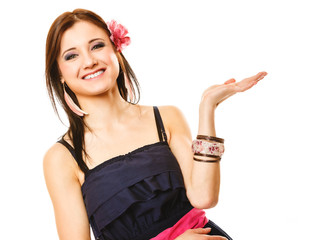 Portrait of beautiful girl in summer style open palm