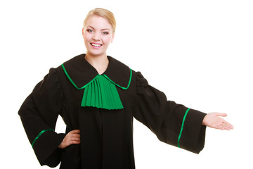 Law. Woman lawyer in polish gown inviting welcome