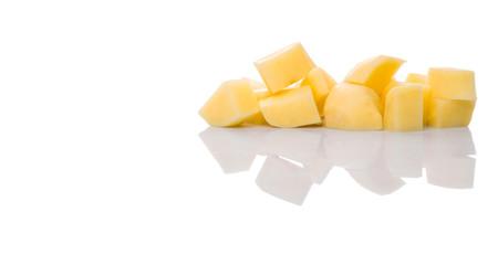 Chopped potato over white background