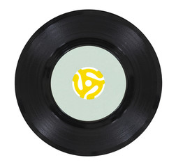 Vintage Vinyl Record with Yellow Adapter