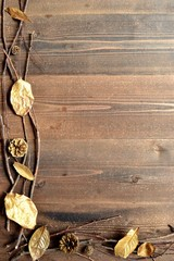 Gold fall leaves with pine cones