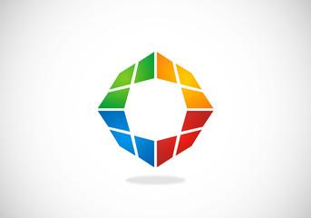 dimensional square color vector logo