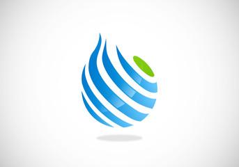 globe sphere communication line vector logo