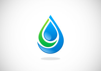 water drop ecology vector logo