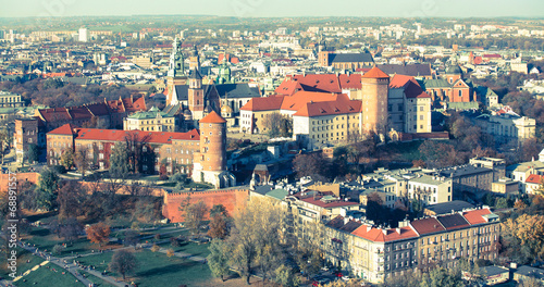 Panorama of Royal Wawel castle in Krakow, Poland (film style)