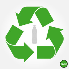 Green recycle sign  with bottle in the middle