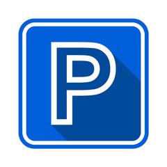 Parking sign outline on blue background