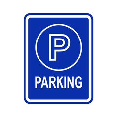 Parking sign outline on blue background